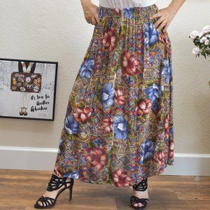 Index by Melrose Rayon Flowy Floral Maxi Skirt